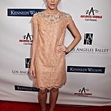 At the Los Angeles Ballet gala in Beverly Hills, Christa B. Allen sparkled in an embellished peach lace dress. Her metallic bronze pumps added even further shine factor.