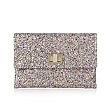 Anya Hindmarch Valorie Glitter-Finish Leather Clutch, $395