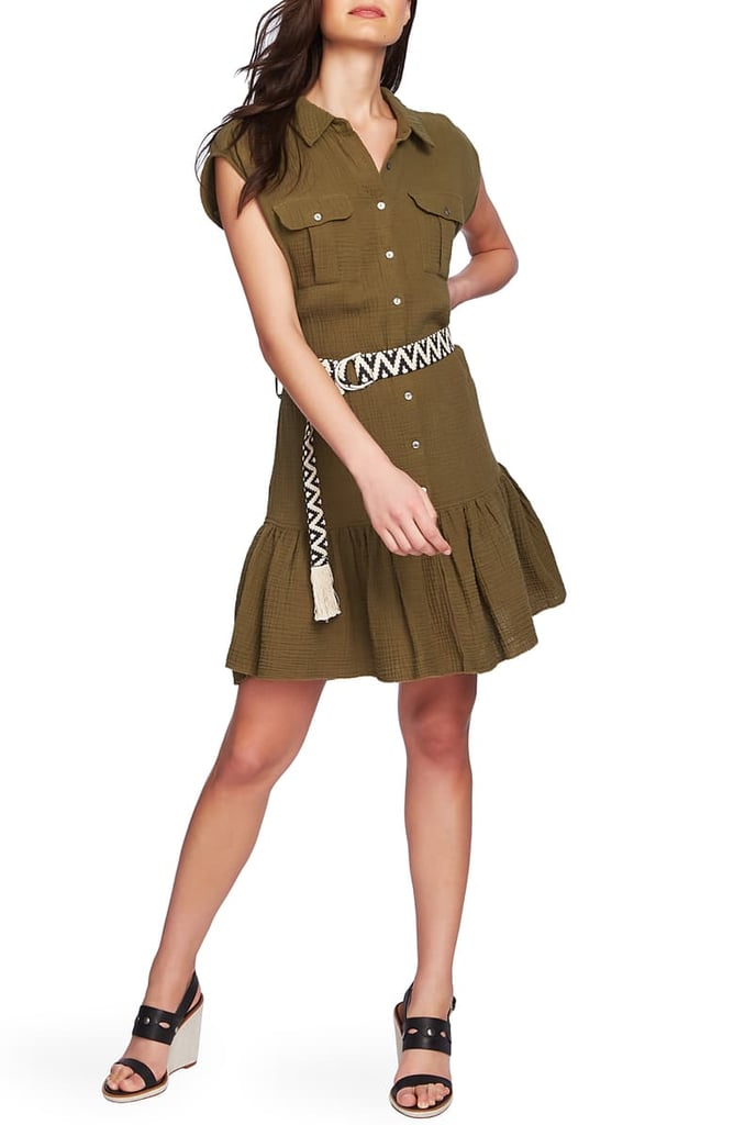 1.STATE Belted Cotton Gauze Shirtdress