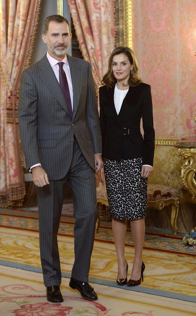 Queen Letizia Leopard Skirt