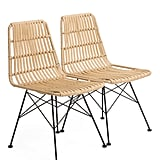 Set of Two Indoor Outdoor Natural Chairs