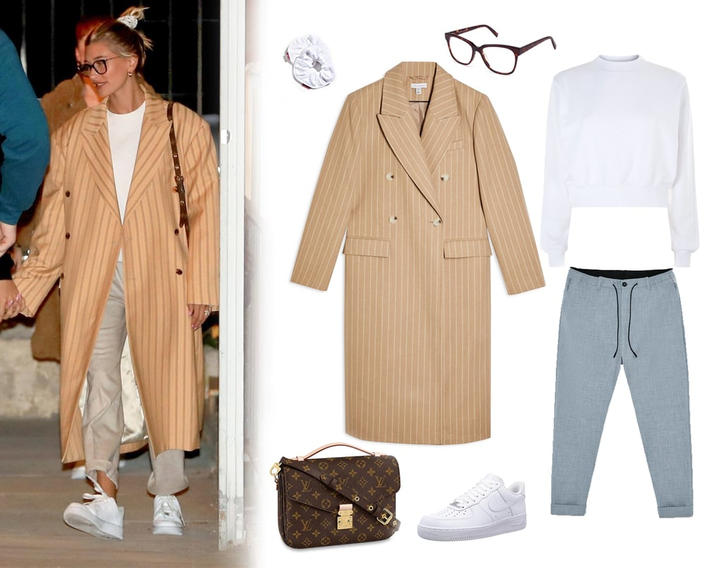 Hailey Baldwin's Oversize Striped Coat With Justin Bieber