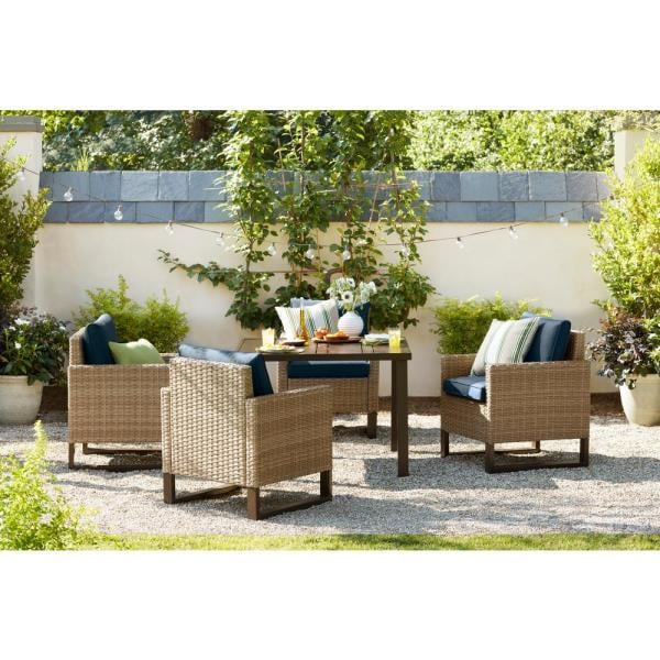 Hampton Bay Park Heights 5-Piece Wicker Square Outdoor Dining Set