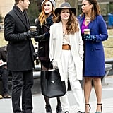 Rumer Willis filmed an outdoor scene with her Songbyrd costars in NYC on Monday.