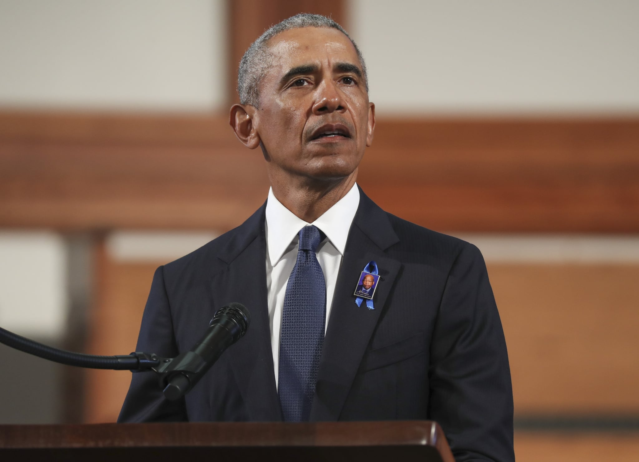 ATLANTA, GA - JULY 30:  Former U.S. President Barack Obama speaks during the funeral service of the late Rep. John Lewis (D-GA) at Ebenezer Baptist Church on July 30, 2020 in Atlanta, Georgia.  Former U.S. President Barack Obama gave the eulogy for the late Democratic congressman and former presidents George W. Bush and Bill Clinton were also in attendance. Rep. Lewis was a civil rights pioneer, contemporary of Dr. Martin Luther King, Jr. and helped to organise and address the historic March on Washington in August 1963. (Photo by Alyssa Pointer-Pool/Getty Images)
