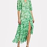 Ganni Floral Print Mesh Wrap Dress