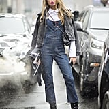 Romee Strijd showing us just how dressed up overalls can be during NYFW.