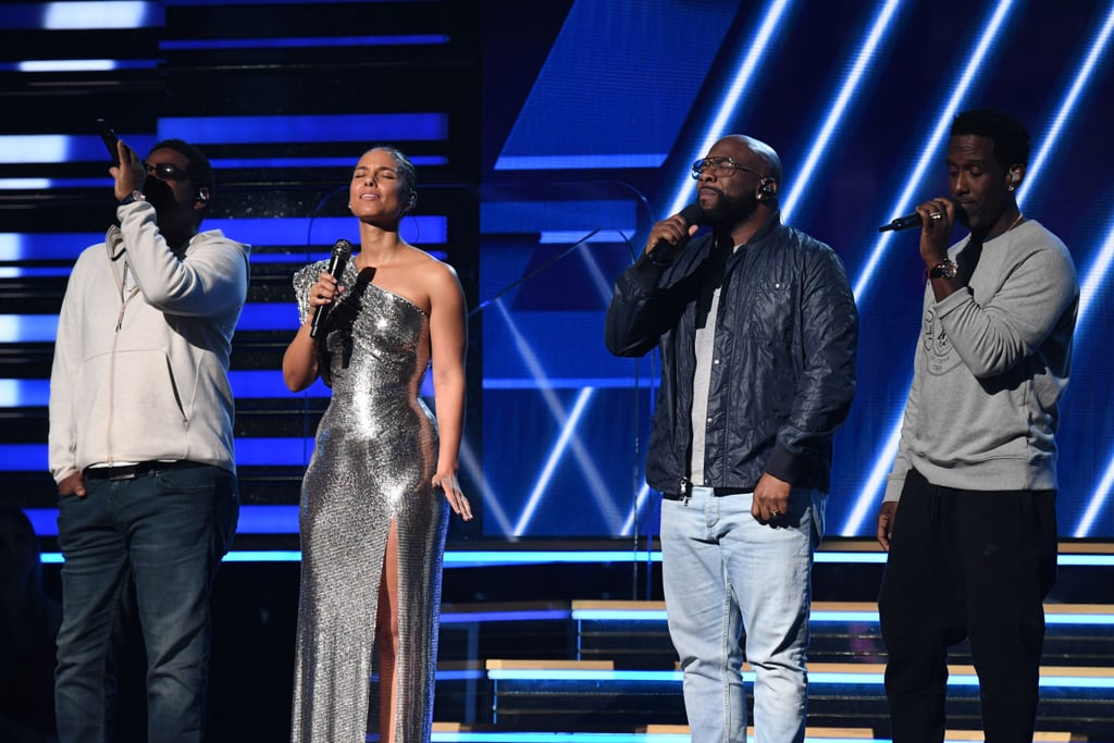 """Sunday's Grammy Awards was the biggest night in music, but it was also a night to pay tribute to some icons and legends. Following the death of Kobe Bryant earlier in the day, the Recording Academy announced a desire to include a special memorial for the recently retired Los Angeles Lakers superstar, in additional to the planned tribute for rapper Nipsey Hussle.  After a rousing performance from Lizzo, host Alicia Keys opened the ceremony with a few words on the late ball player and his daughter. """"Earlier today, Los Angeles, America, and the whole wide world lost a hero,"""" she began. """"We're literally standing here, heartbroken, in the house that Kobe Bryant built."""" The singer went on to ask the audience to hold Bryant, his daughter, and everyone else lost in the crash """"inside of you"""" and to share their strength with the victims' families. Keys then sang a stirring acoustic rendition of Boyz II Men's """"It's So Hard to Say Goodbye to Yesterday,"""" joined by the members of the band on stage, which ended with the camera panning to both of Bryant's retired jersey numbers illuminated in the Staples Center rafters. Bryant is known worldwide for his NBA career, including winning five championships with the Los Angeles Lakers and being an 18-time NBA All-Star. The former player was traveling in his private helicopter with eight other people, including his 13-year-old daughter, Gianna, when it went down in Calabasas, CA, on Sunday. He is survived by his wife, Vanessa, and their three other daughters, Natalia, 17, Bianka, 3, and Capri, who was born in June 2019.  Though the family wasn't present for the tribute and hasn't issued any public statements, Bryant's friends and fans have been sharing their sadness and tributes since the news broke. Watch the memorial from the Grammys ahead."""