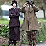 Michelle Dockery and Allen Leech filmed scenes for the upcoming season of Downton Abbey in London on Thursday.