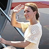 Kate Middleton gave a wave as she got onto a jet headed for Tuvalu.