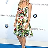 Sienna Miller wore a floral dress.