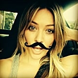 Hilary Duff showed support for selfies and the Movember movement with a fake mustache. Source: Instagram user hilaryduff
