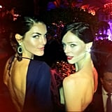 Hilary Rhoda and Coco Rocha posed back-to-back at the Bergdorf's event. Source: Instagram user cocorocha