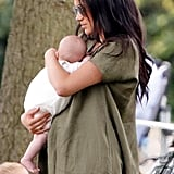 July: Meghan brought baby Archie along to watch Harry participate in a charity polo match.