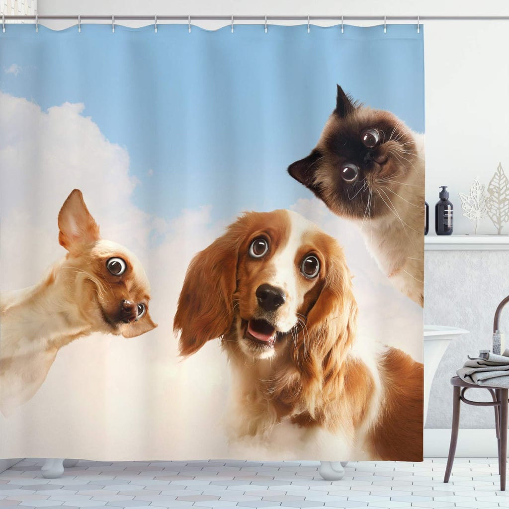 Cat And Dog Friends With Hilarious Expressions Shower Curtain Funny And Weird Shower Curtains On Amazon 2019 Popsugar Home Australia Photo 28
