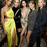 Kendall Jenner Python Print Dress With Hailey Baldwin