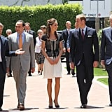 Prince William and Kate Middleton have eyes for each other as they walk with Chairman and CEO of Sony Pictures Entertainment, Michael Lynton, the director of Mission Serve, Ross Cohen, and some secret service agents.