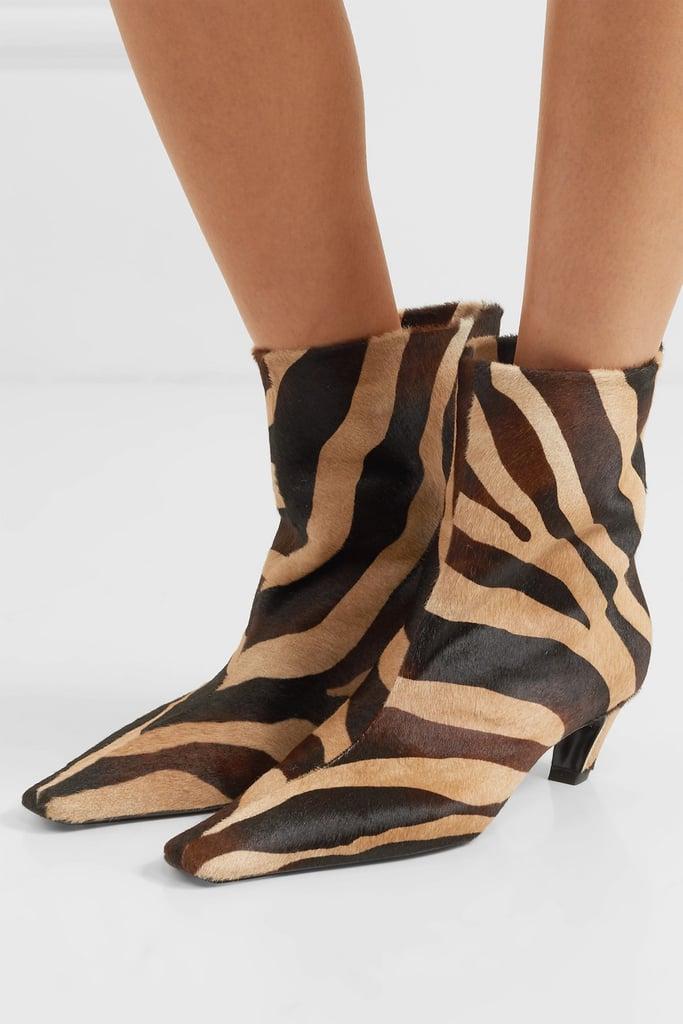 Khaite Zebra Print Calf Hair Ankle Boots
