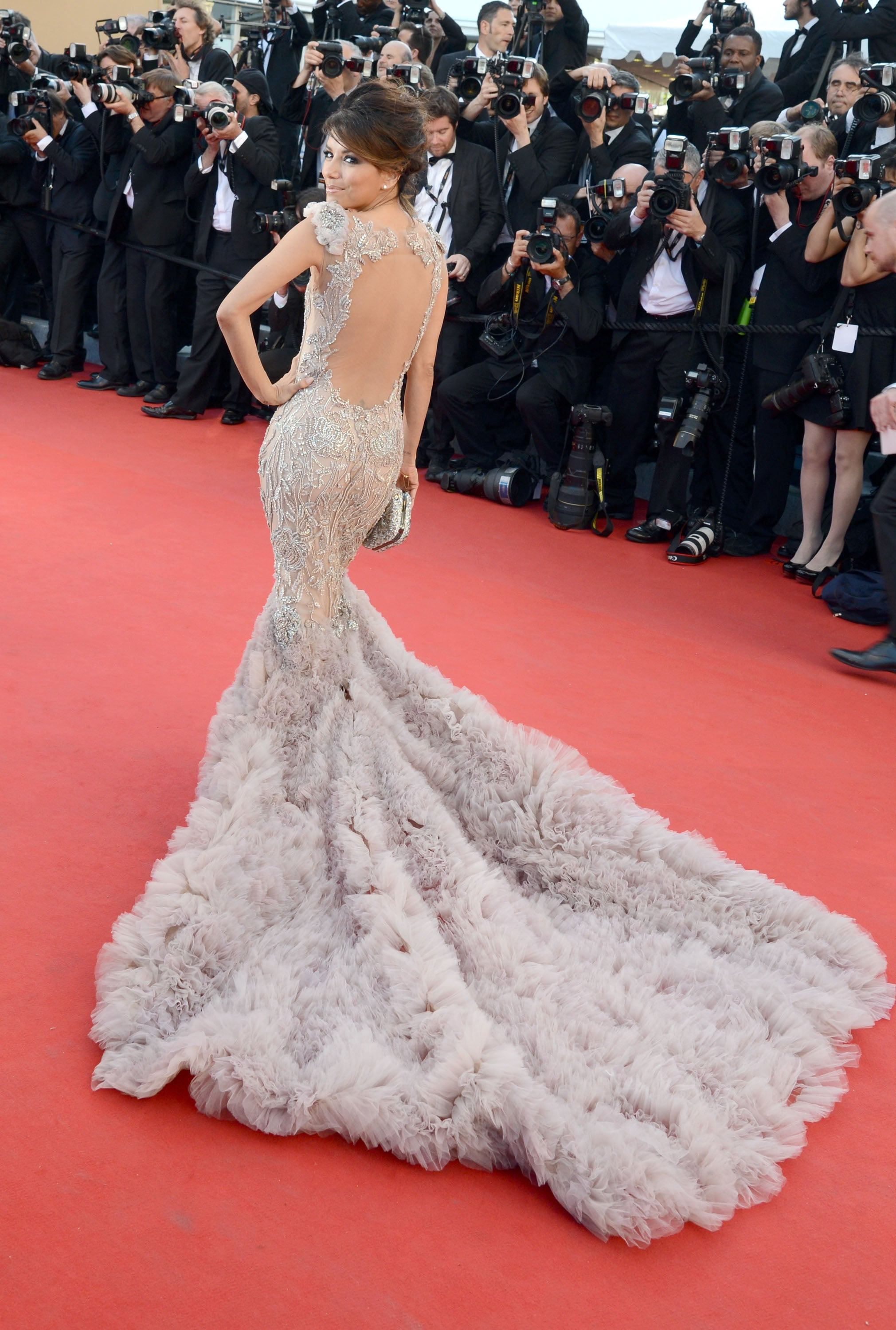 The train of the Marchesa gown Eva Longoria wore to the 2012 Cannes premiere of Moonrise Kingdom got a lot of attention.