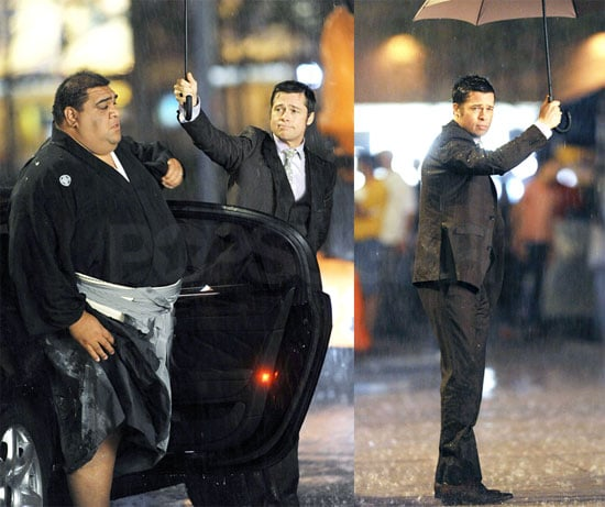 Photos of Brad Pitt Filming a Japanese Commercial in NYC