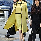 Opting For a Monochrome Look With a Yellow Dress and Matching Coat