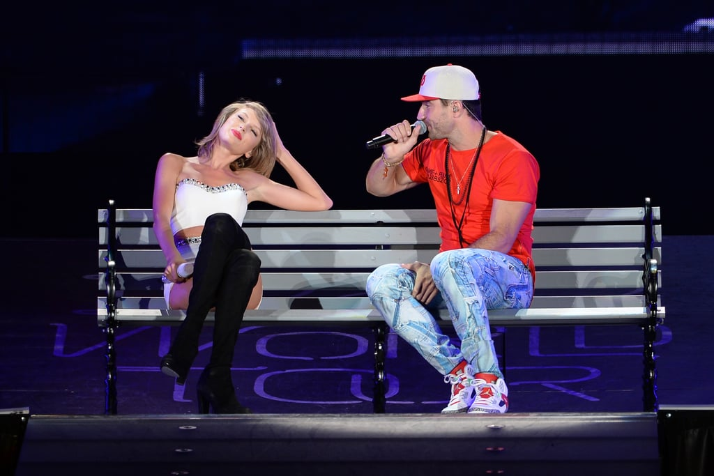 """Plenty of famous friends have joined Taylor Swift on stage throughout her 1989 tour, and during Sunday's show in Chicago, she sang a duet with country star Sam Hunt. Taylor and Sam performed his song """"Take Your Time,"""" and she later mentioned the moment in a cute Instagram snap. Posting a picture of the pair sitting on a bench on stage, Taylor wrote, """"A huge thank you to @SamHuntMusic for surprising the crowd with 'Take Your Time'. Such a star."""" Keep reading for more pictures plus a video of Taylor and Sam's performance, then check out the sexiest pictures of Sam Hunt and an adorable throwback photo of the country star."""
