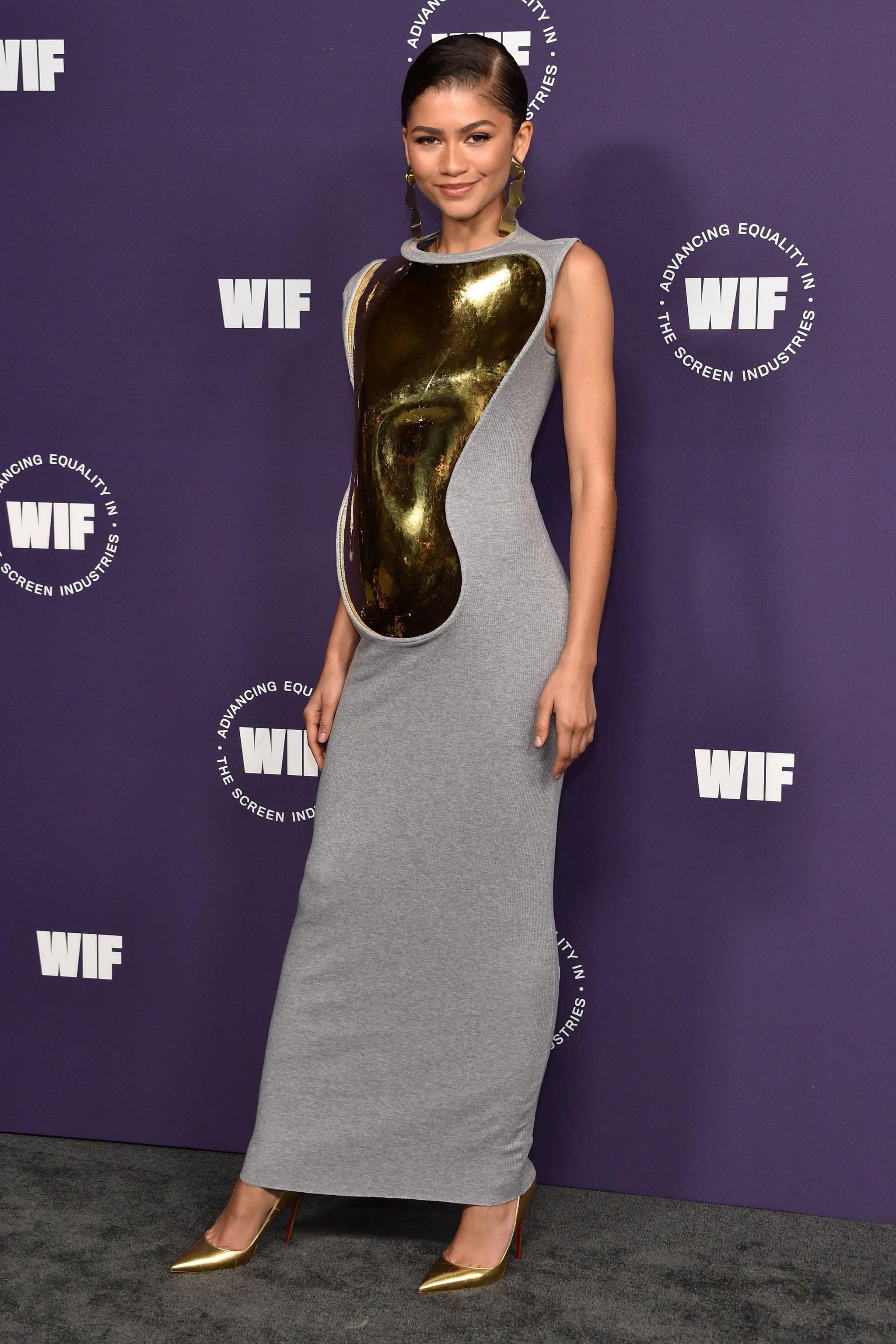 Zendaya's Gold-Plated Loewe Dress at Women in Film Honors   POPSUGAR Fashion