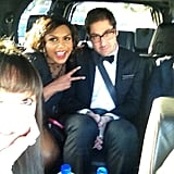 Mindy Kaling, B.J. Novak, and pals headed to the Writers Guild Association Awards together. Source: Twitter user mindykaling