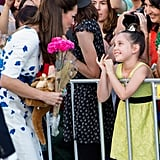 Kate had a big fan in this little girl during the royal couple's official tour of Australia in April 2014.