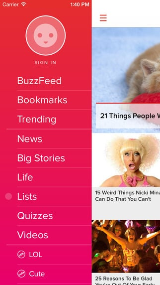 BuzzFeed (free, iOS) — Get cats, LOLs, and serious news with