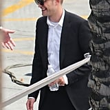 Robert Pattinson smiled on set in LA.