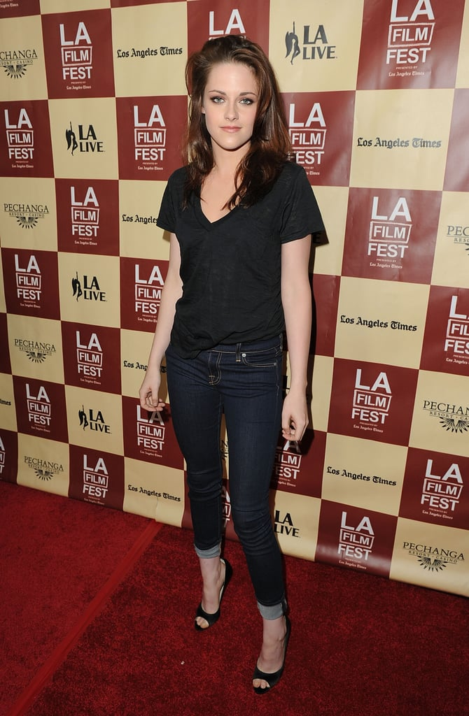 Kristen Stewart posed in Brian Atwood heels at the LA Film Festival.