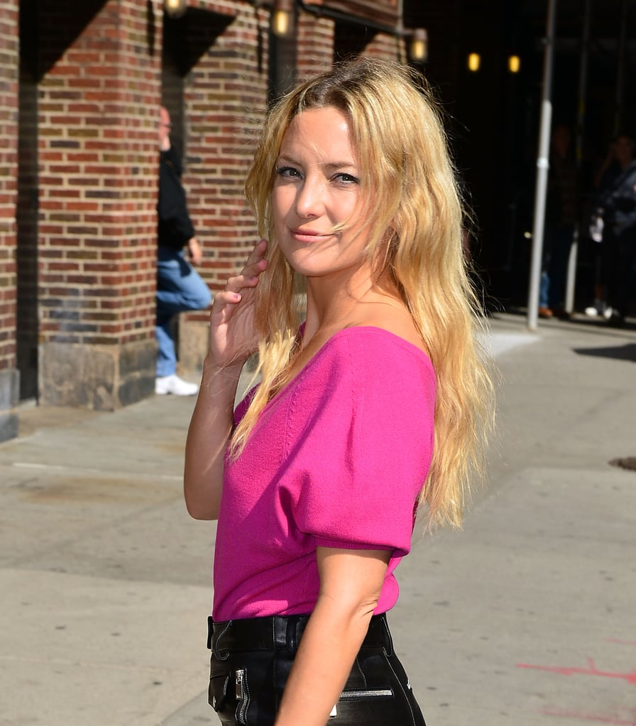 Kate Hudson arrived for her appearance on The Late Show in NYC.