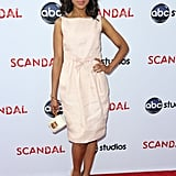 Kerry Washington looked pretty in pink in a Giambattista Valli knee-length number at the Academy of Television Arts & Sciences event in LA. Nude platform pumps and a white wristlet fit in beautifully.