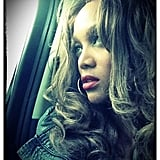 Tyra Banks stared out the window during a car ride. Source: Twitter user tyrabanks