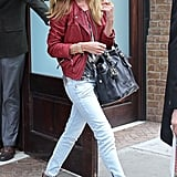 Rosie Huntington-Whiteley rocked an edgy pair of Pierre Balmain denim around NYC.