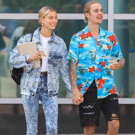 Hailey Baldwin Acid Wash Jeans With Justin Bieber
