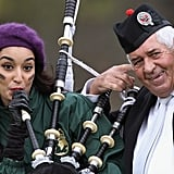 The contestant from India gives bagpipe playing a shot at the Miss World Highland Games.