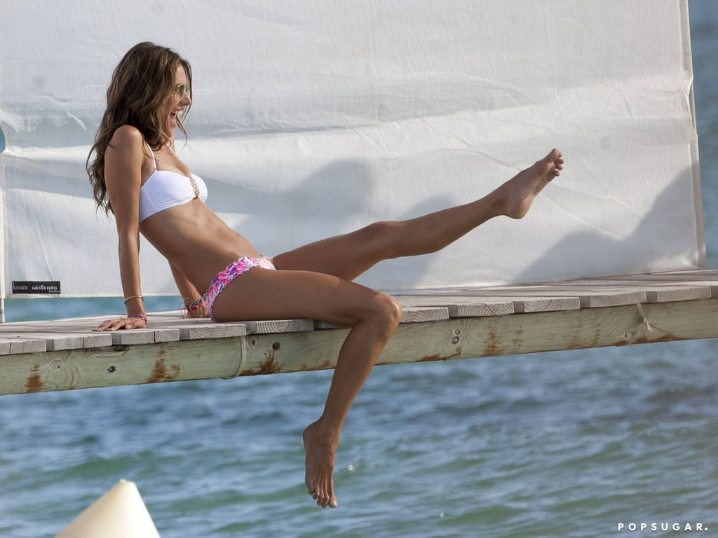Alessandra Ambrosio was smiley and playful during her bikini photo shoot.