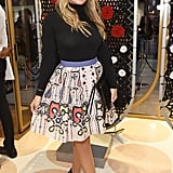 She wore a playful skirt in September 2016.
