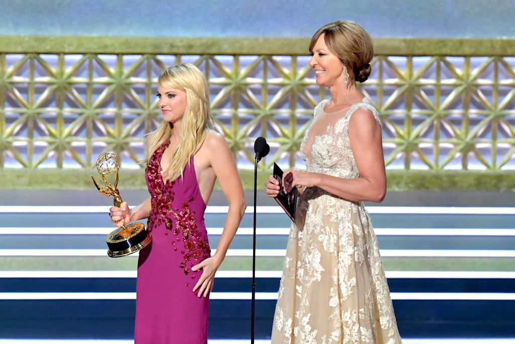 Anna Faris made a gorgeous appearance at Sunday night's Emmy Awards in LA, all smiles as she took the stage. Wearing a striking Marc Jacobs gown, the actress joined her Mom costar Allison Janney to present the award for outstanding variety sketch series to Saturday Night Live. The pair walked on stage hand in hand, and Anna had the crowd cracking up as she attempted to finish Allison's sentences. The Emmys marked Anna's first official appearance since she and Chris Pratt announced their separation in early August. Meanwhile, Anna has been fairly quiet on social media since they shared the news, but earlier this week, she announced that she'll be doing an Unqualified book tour this Fall. Check out all the best pictures from her Emmys appearance and see every look from the Emmys red carpet.