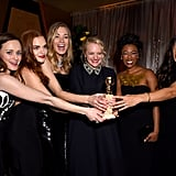 The Handmaid's Tale stars Alexis Bledel, Madeline Brewer, Yvonne Strahovski, Elisabeth Moss, Samira Wiley, and Amanda Brugel enjoyed a photo op after the Hulu show won best television drama series at the 2018 ceremony.