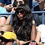 Naomi Campbell took in the tennis tournaments at the US Open in oversize sunglasses.
