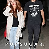 Riley Keough and boyfriend Ben Smith-Peterson went out at night.