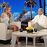 Taylor Swift Blue Jonathan Simkhai Dress on Ellen