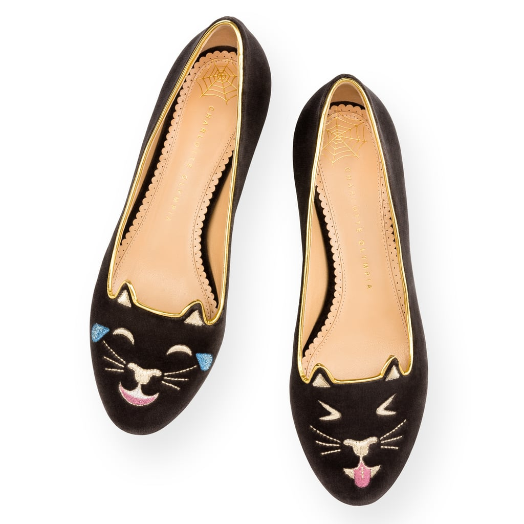 """Charlotte Olympia's Emoticat collection just debuted, giving us a cheeky riff on its iconic cat slippers ($525) with nods to your favorite emoji. With shoes so cute, you hardly need to think about the rest of your outfit."" — HWM"
