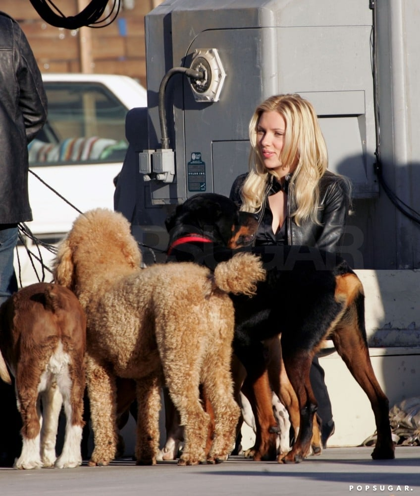 Scarlett palled around with some pups while on the set of The Island in 2004.