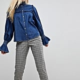 Asos Denim Shirred Shirt With Frill Detail in Indigo
