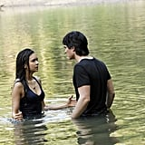 The water isn't the only thing that's deep here — just look at that intense conversation between Elena and Damon.