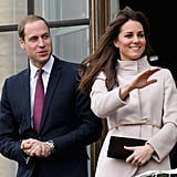 Prince William and Kate Middleton waved to crowds on their official visit to Cambridge.